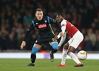 Arsenal's Ainsley Maitland-Niles and Napoli's Piotr Zielinski<br /> <br /> Photographer Rob Newell/CameraSport<br /> <br /> UEFA Europa League First Leg - Arsenal v Napoli - Thursday 11th April 2019 - The Emirates - London<br />  <br /> World Copyright © 2018 CameraSport. All rights reserved. 43 Linden Ave. Countesthorpe. Leicester. England. LE8 5PG - Tel: +44 (0) 116 277 4147 - admin@camerasport.com - www.camerasport.com