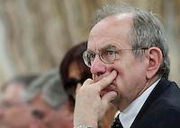Ministro dell'economia  Pier Carlo Padoan partecipa al Convegno sul mezzogiorno alla fondazione Banco iNapoli