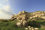 "Israel, Shephelah, remains of the Crusader castle ""Le toron des chevaliers"" in Latrun"