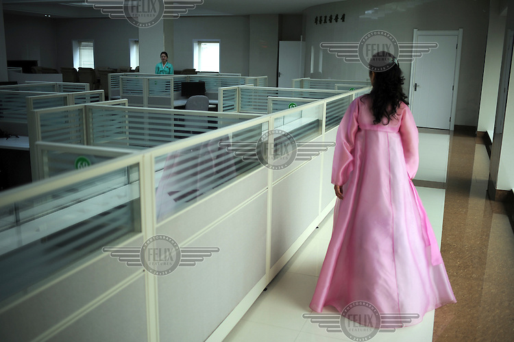 An empty internet and computer facility shown to foreign journalists because it was the last place that late Kim Jong-il visited before his death.