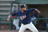 Elizabethton Twins starting pitcher Andriu Marin (15) delivers a pitch during a game against the Kingsport Mets at Northeast Community Credit Union Ballpark on July 5, 2019 in Elizabethton, Tennessee. The Twins defeated the Mets 7-1. (Tracy Proffitt/Four Seam Images)