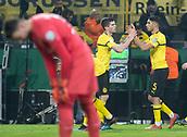 February 5th 2019, Dortmund, Germany, German DFB Cup round of 16, Borussia Dortmund versus SV Werder Bremen;  Dortmund's Christian Pulisic (l) celebrates with Achraf Hakimi after his goal for 2-1.