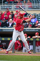 Ryan Boldt (21) of the Nebraska Cornhuskers bats during the 2015 Big Ten Conference Tournament between the Illinois Fighting Illini and Nebraska Cornhuskers at Target Field on May 20, 2015 in Minneapolis, Minnesota. (Brace Hemmelgarn/Four Seam Images)