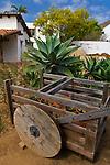Wagon in courtyard garden, Casa de Estudillo Museum, Old Town San Diego State Historic Park, San Diego, California