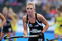 Charlotte Harrison of the Black Sticks during the Women's Champions Trophy match between New Zealand v Australia at Lee Valley Hockey Centre, Olympic Park, England on 19 June 2016. Photo by Steve McCarthy / PRiME Media Images.