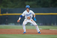 Michael Massey (6) of the Burlington Royals takes his lead off of first base against the Johnson City Cardinals at Burlington Athletic Stadium on September 4, 2019 in Burlington, North Carolina. The Cardinals defeated the Royals 8-6 to win the 2019 Appalachian League Championship. (Brian Westerholt/Four Seam Images)