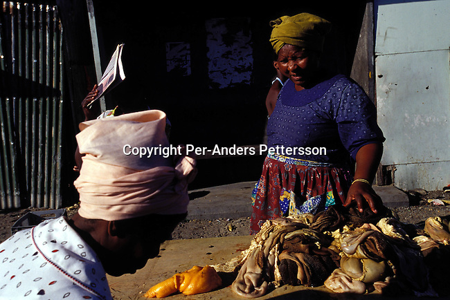 ditown00214 .Digital. Township  An unidentified woman selling cow intestines at a stall on July 28, 2001 in Site B Khayelitsha, a township about 35 kilometers outside Cape Town, South Africa. Sheep heads and cow intestines are popular traditional foods in the rural areas and the people in the township are trying to keep their traditions in the big cities. Khayelitsha is one of the poorest and fastest growing townships in South Africa. People usually come from the rural areas in Eastern Cape province to find work as maids and laborers. Most people don't find work and the unemployment rate is very high, together with lot of violence and a growing HIV-Aids epidemic itÕs a harsh area to live in..©Per-Anders Pettersson/ iAfrika Photos...