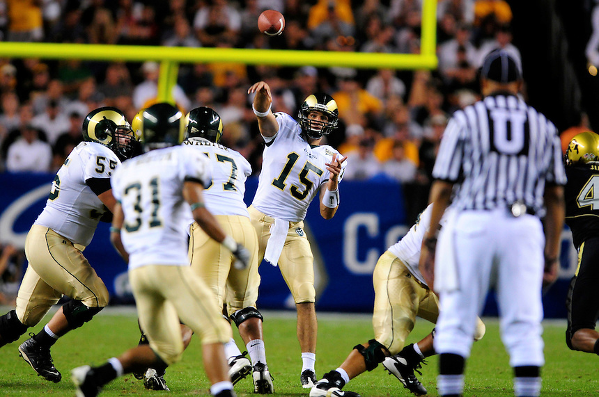 31 Aug 2008: Colorado State quarterback Billy Farris passes against Colorado. The Colorado Buffaloes defeated the Colorado State Rams 38-17 at Invesco Field at Mile High in Denver, Colorado.. FOR EDITORIAL USE ONLY