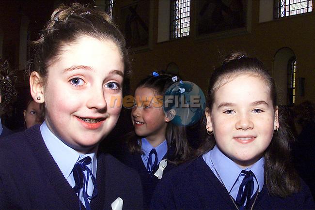 Sara O'Brien, Mellifont and Hellen Keegan, Braden St, from Ballymakenny girls school who was confirmed at the Lourdes church..pic:Arthur Carron/ Newsfile