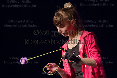 Participant competes during the Yoyo European Championships in Budapest, Hungary on February 24, 2013. ATTILA VOLGYI