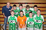 Pictured are the Ballydonoghue indoor Soccer Team, who are the u15 winners and are going to the national final, were front l-r: Jack Behan, Donal Doyle, Stephen Mason and Micaeal Foley. Back l-r: Pat O'Donnell (trainer) Liam Kissane, Michael Dee, Jamie Lynch and Brian Mason..