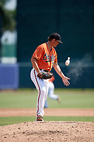 Baltimore Orioles pitcher Nick Vespi (76) uses the rosin bag during an Instructional League game against the Pittsburgh Pirates on September 27, 2017 at Ed Smith Stadium in Sarasota, Florida.  (Mike Janes/Four Seam Images)