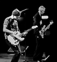 U2's Edge playing at Boston Garden May 2011 Vertigo Tour.