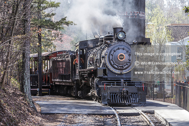 The narrow gauge Dollywood Express steam train is pictured in Dollywood theme park in Pigeon Forge, Tennessee Friday March 21, 2014. Located in the Knoxville-Smoky Mountains metroplex, Dollywood is a theme park owned by entertainer Dolly Parton and Herschend Family Entertainment.