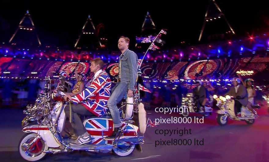 Olympics 2012 - BBC Coverage.Closing ceremony.Kaiser Chiefs sings Pinball Wizard.....Picture by Pixel8000 07917221968