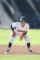 Hutton Moyer #2 of the Pepperdine Waves leads off from first base during a game against the Tulane Green Wave at Eddy D. Field Stadium on March 13, 2015 in Malibu, California. Tulane defeated Pepperdine, 9-3. (Larry Goren/Four Seam Images)