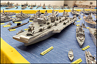 BNPS.co.uk (01202 558833)Pic: LeeMcLean/BNPS<br /> <br /> Philip Warren's (87) 3ft replica of HMS Queen Elizabeth, which took him eight months to create.<br /> <br /> Master modeller Philip Warren has spent 70 years building an incredible fleet of 484 warships and he says he is not ready to sail into the sunset.<br /> <br /> Philip, 87, has dedicated his entire adult life to crafting the matchstick armada and has built every class of ship in the Royal Navy since 1945, using over a million matchsticks.<br /> <br /> He recently completed a magnificent 3ft replica of the HMS Queen Elizabeth aircraft carrier which took him eight months.