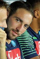 Gonzalo Higuain   durante l'incontro  di calco d Seriden A  tra SSC Napoli e US Palermo    allo stadio San Paolo di Napoli , 24 Settembre  2014