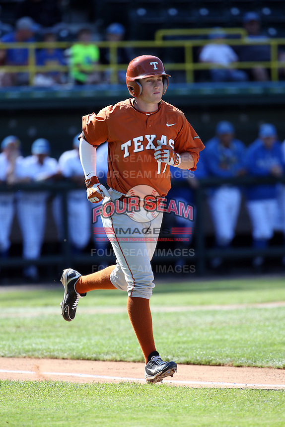 Bret Boswell (17) of the Texas Longhorns runs to first base during a game against the UCLA Bruins at Jackie Robinson Stadium on March 12, 2016 in Los Angeles, California. UCLA defeated Texas, 5-4. (Larry Goren/Four Seam Images)