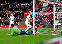 GOAL - Neal Maupay of Brentford scores to make it 1-0 during the Sky Bet Championship match between Brentford and Leeds United at Griffin Park, London, England on 4 November 2017. Photo by Carlton Myrie.