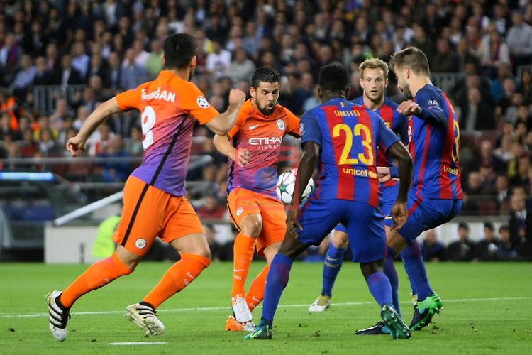 UEFA Champions League 2016/2017 - Matchday 3.<br /> FC Barcelona vs Manchester City FC: 4-0.<br /> Ilkay Gundogan, Nolito, Samuel Umtiti, Gerard Pique &amp; Ivan Rakitic.