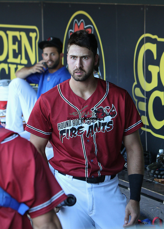 Round Rock Express third baseman Joey Gallo in the dugout during the Minor League Baseball game between the Round Rock Express, wearing promotional Round Rock Fire Ants jerseys, and the Fresno Grizzlies at Dell Diamond in Round Rock on Thursday, July 21, 2016. Round Rock won 3-0.