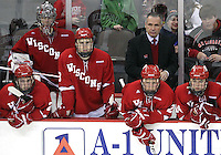 The Wisconsin bench watches as the final seconds tick off the clock during the third period. No. 16 UNO beat No. 7 Wisconsin 4-1 in front of a school-record crowd of 15,137 Friday night at Qwest Center Omaha.  (Photo by Michelle Bishop)..