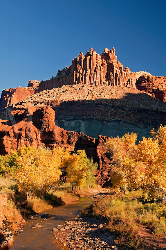 The Castle rises above Sulphur Creek, Capital Reef National Park, Fruita, Utah