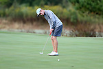 CHAPEL HILL, NC - OCTOBER 07: UNC's Joshua Martin on the 18th green. The first round of the Tar Heel Intercollegiate Men's Golf Tournament was held on October 7, 2017, at the UNC Finley Golf Course in Chapel Hill, NC.