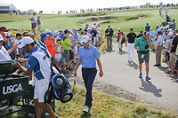 A large gallery welcomes Jordan Spieth (USA) , Martin Kaymer (DEU) and Dustin Johnson (USA) to the 12th tee during Thursday's round 1 of the 117th U.S. Open, at Erin Hills, Erin, Wisconsin. 6/15/2017.<br /> Picture: Golffile | Ken Murray<br /> <br /> <br /> All photo usage must carry mandatory copyright credit (&copy; Golffile | Ken Murray)