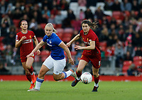 17th November 2019; Anfield, Liverpool, Merseyside, England; Womens Super League Footballl, Liverpool Women versus Everton; Niamh Fahey of Liverpool FC Women chases a through ball with Elise Hughes of Everton - Editorial Use