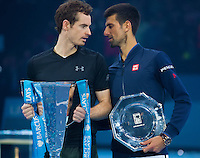 Andy Murray (GBR) and Novak Djokovic (SBR) in discussion after the ATP World Tour Final, ATP World Tour Finals 2016, Day Eight, O2 Arena, Peninsula Square, London, United Kingdom, 20th Nov 2016