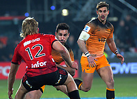 Jaguares captain Jeronimo De La Fuente runs at Crusaders' Jack Goodhue during the 2019 Super Rugby final between the Crusaders and Jaguares at Orangetheory Stadium in Christchurch, New Zealand on Saturday, 6 July 2019. Photo: Dave Lintott / lintottphoto.co.nz