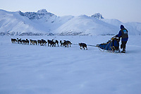 Jessica Hendricks team on the trail leaving Rainy Pass Chkpt 2006 Iditarod Alaska Range Rainy Pass Alaska