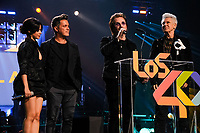 MADRID, SPAIN - NOVEMBER 10: Camila Cabello, Alejandro Sanz, Bono and Adam Clayton attend the 40 Music Awards press room at WiZink Center on November 10, 2017 in Madrid, Spain. Credit: Jimmy Olsen/MediaPunch ***NO SPAIN*** /NortePhoto.com