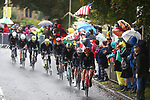 Rohan Dennis (AUS) leads the peloton during the Men Elite Road Race of the UCI World Championships 2019 running 280km from Leeds to Harrogate, England. 29th September 2019.<br /> Picture: Alex Whitehead/SWpix.com | Cyclefile<br /> <br /> All photos usage must carry mandatory copyright credit (© Cyclefile | Alex Whitehead/SWpix.com)