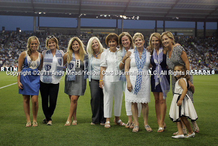 09 June 2011: The wives and daughters of the owners of Sporting Kansas City pose before the game. Sporting Kansas City played the Chicago Fire to a 0-0 tie in the inaugural game at LIVESTRONG Sporting Park in Kansas City, Kansas in a 2011 regular season Major League Soccer game.