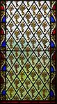 Victorian 19th century decorative patterned stained glass window, Alpheton church, Suffolk, England, UK