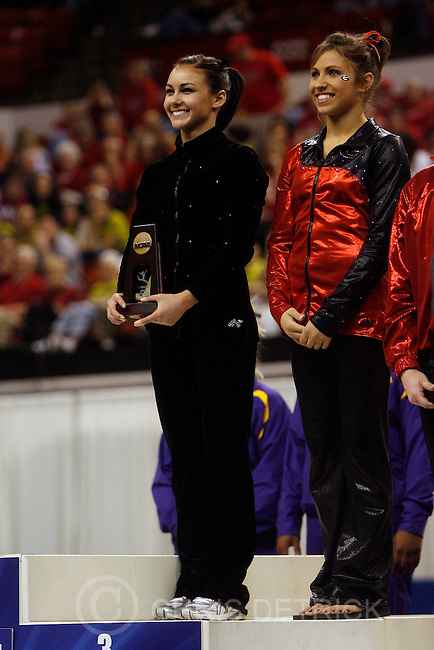 Utah's Kristina Baskett tied for third on the vault with Georgia's Courtney Kupets  the 2009 Individual Event Finals at the University of Nebraska's Bob Devaney Sports Center Saturday, April 18, 2009.  ..Chris Detrick/The Salt Lake Tribune