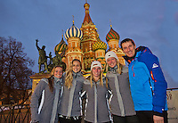 Moskou, Russia, Februari 3, 2016,  Fed Cup Russia-Netherlands,  Dutch team on the Red Square, ltr: Cindy Burger, Arantxa Rus, Richel Hogenkamp, Kiki Bertens and captain Paul Haarhuis<br /> Photo: Tennisimages/Henk Koster