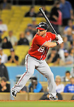 23 July 2011: Washington Nationals pitcher Laynce Nix in action against the Los Angeles Dodgers at Dodger Stadium in Los Angeles, California. The Dodgers rallied to defeat the Nationals 7-6 on a Rafael Furcal walk-off, RBI double in the bottom of the 9th inning. Mandatory Credit: Ed Wolfstein Photo