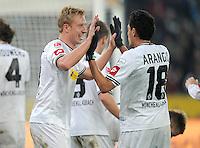 FUSSBALL   1. BUNDESLIGA  SAISON 2011/2012   18.  Spieltag   20.01.2012 Borussia Moenchengladbach   - FC Bayern Muenchen  Jubel Mike Hanke (li.)  mit Juan Arango (Borussia Moenchengladbach)