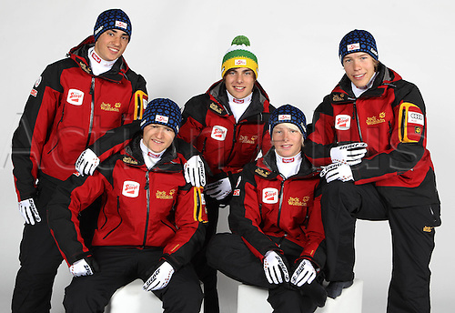 16.10.2010  Winter sports OSV Einkleidung Innsbruck Austria. Ski Nordic Nordic Combination OSV Austrian Ski Federation. Picture shows Benedict Dornauer Fabian Steindl front Lukas Greiderer Franz Joseph Rehrl and Matthias Hochegger AUT rear Keywords Group photo
