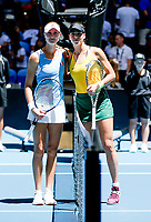 9th November 2019; RAC Arena, Perth, Western Australia, Australia; Fed Cup by BNP Paribas Tennis Final, Day 1, Australia versus France; Kristina Mladenivic of France and Ajla Tomljanovic of Australia pose for photographs before the start of their match