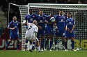 Iain Hume of Preston sees his free-kick blocked by the Stevenage wall. - Preston North End v Stevenage - Deepdale, Preston - 10th December 2011  .© Kevin Coleman 2011 . .