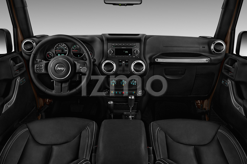 Stock photo of straight dashboard view of 2017 JEEP wrangler Sahara 5 Door SUV Dashboard