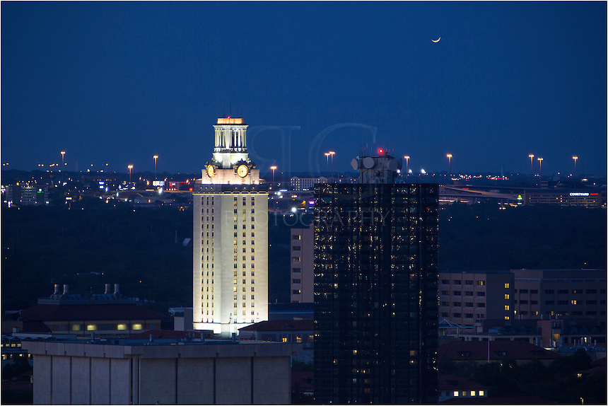 From the Springs Condominium in the Austin Skyline, this image of the UT Tower was captured with a 400mm telephoto. It was well after sunset and the sky had a nice dark blue hue. The building to the right of the UT Tower is Jester Dormatory, temporary home to a lot of UT students.