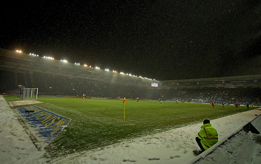 A cold snowy night at the King Power Stadium.- CREDIT - CameraSport - Stephen White..Football - npower Football League Championship - Leicester City v Middlesbrough - Friday 18th January 2013 - The King Power Stadium - Leicester..© CameraSport - 43 Linden Ave. Countesthorpe. Leicester. England. LE8 5PG - Tel: +44 (0) 116 277 4147 - admin@camerasport.com - www.camerasport.com