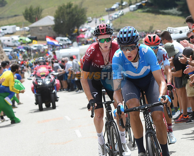 Marc Soler (ESP) Movistar and Tao Geoghegan Hart (GBR) Team Ineos part of the breakaway during Stage 15 of La Vuelta 2019  running 154.4km from Tineo to Santuario del Acebo, Spain. 8th September 2019.<br /> Picture: Karlis | Cyclefile<br /> <br /> All photos usage must carry mandatory copyright credit (© Cyclefile | Karlis/Photogomezsport)