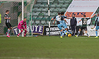 Barry Richardson of Wycombe Wanderers looks to keep out the shot of Craig Tanner of Plymouth Argyle during the Sky Bet League 2 match between Plymouth Argyle and Wycombe Wanderers at Home Park, Plymouth, England on 30 January 2016. Photo by Mark  Hawkins / PRiME Media Images.